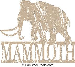 A mammoth in grunge effect.