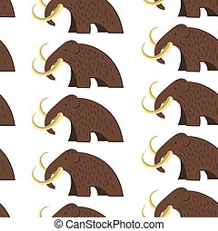 Mammoth animal with fur and tusks seamless pattern - Mammoth...