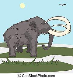 mammoth at tundra landscape vector cartoon illustration of ice age fauna