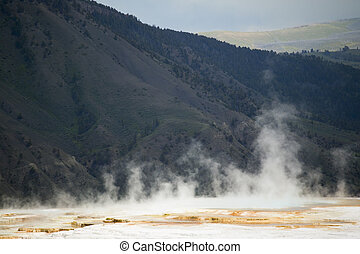Mammoth Hot Springs, Yellowstone - Mammoth Hot Springs, Main...