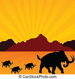 mammoth in desert vector illustration