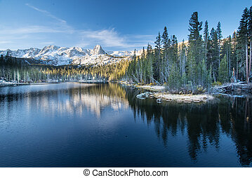 Mammoth Lakes at sunrise - Mamie Lake in Mammoth during the...