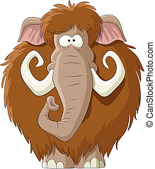 Mammoth on a white background, vector illustration
