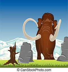 Mammoth on glade.Prehistorical animal mammoth on green glade...