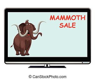Mammoth sale television advertisement with copy space for own text or graphics isolated on white background