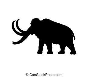 Mammoth silhouette extinct mammalian animal. Vector...