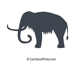 Mammoth Silhouette Isolated on White Background