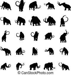 Mammoth silhouette set