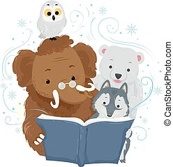 Mammoth Story Telling Winter Animals Illustration