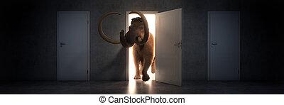 Mammoth walks into an open door. 3d rendering