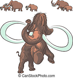 mammoths, vecteur, troupeau
