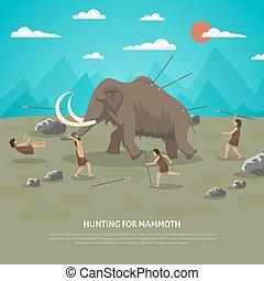 mammut, caccia, illustrazione