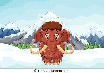 mamouth, 山, 漫画, 氷