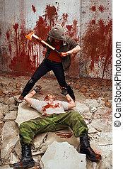 maníaco, sangrento, ir, matança, vítima, machado
