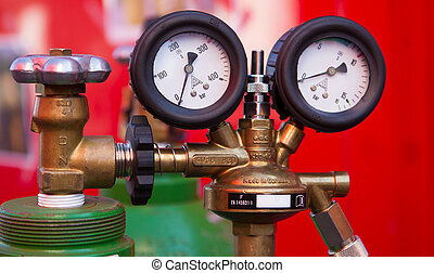 manómetro, gas, dos
