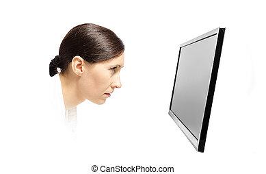 manželka, computer kontrolovat, upřený