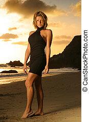 manželka, dále, pláž