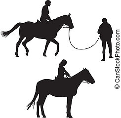 manželka, dále, ta, kůň, silueta, vektor