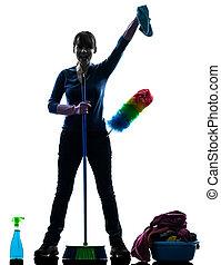 manželka, dívka, domácí práce, čištění, produkt, silueta
