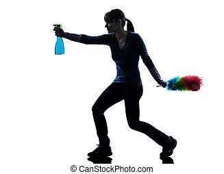 manželka, dívka, domácí práce, oprášit, čištění, silueta