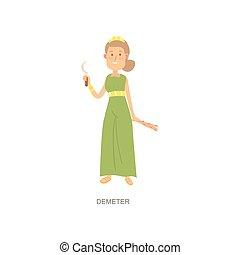 manželka, demeter, bůh, dlouho, řečtina, nezkušený, mytologie, obléci