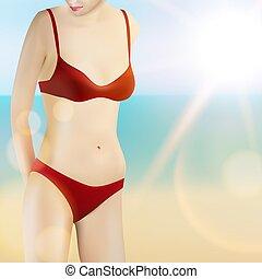 manželka, do, bikini, dále, léto, moře, pláž