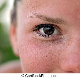 manželka, hněď, oko, s, makeup, closeup