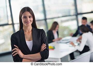 manželka, ji, úřad, povolání, grafické pozadí, hůl