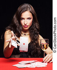 manželka, karban, dále, červené šaty poloit na stůl