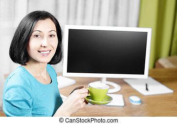 manželka, počítač