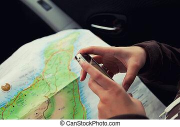 manželka, proměnlivý, app, ruce, pouití, navigace
