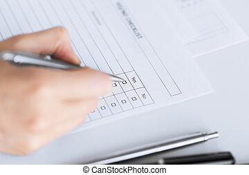 manželka, rukopis, s, čistý, dotazník, nebo, forma