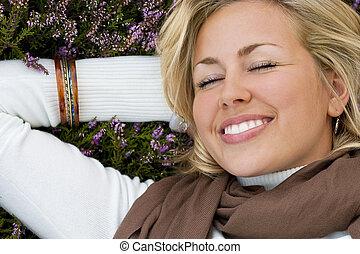 manželka, s, šťastný, thoughts