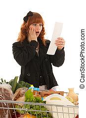 manželka, s, shopping vozík, plný, mlékárna, potraviny