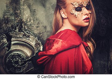 manželka, s, tvořivý, masopust maskování, dále, ji, čelit