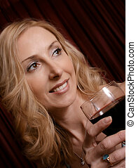 manželka, s, víno