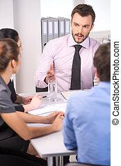 manželka, skupina, business úřadovna, národ, mládě, mluvící, pracovní, meeting., setkání, voják