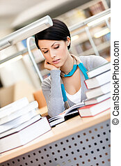 manželka, studie, knihovna