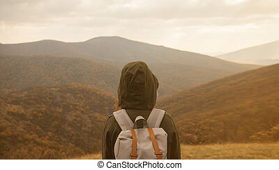 manželka, udělat si rád, krajina, o, podzim, hory