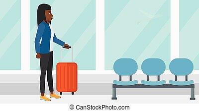 manželka, v, letiště, s, suitcase.