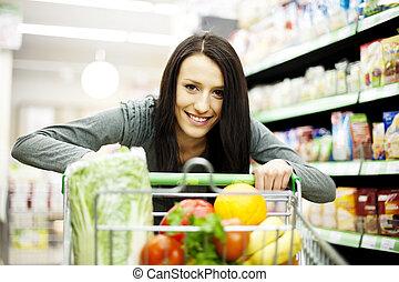 manželka, v, supermarket