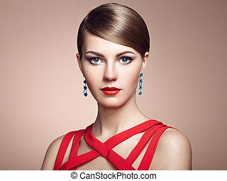 manželka, velkolepý, vlas, vkusný, móda, portrét