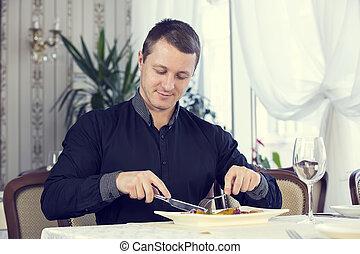 man, äta, restaurang