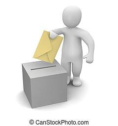 man, överföring, brev, eller, rösta, concept.