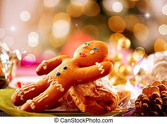 man., 圣诞节, 姜饼, 假日, 食物。, 桌子放置