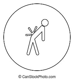 Man a with sick back . Backache black icon outline in circle...