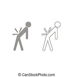 Man a with sick back . Backache icon. Grey set . - Man a...