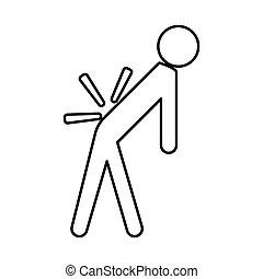 Man a with sick back . Backache it is black icon . Flat...