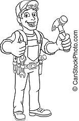 man, aannemer, doe het zelf, handyman, timmerman, spotprent, hamer