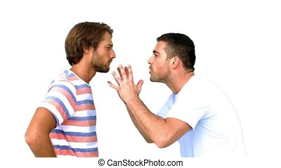 Man about to fight another man on white background in slow...